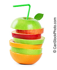 Mixed fruit slices on white background. Fruits concept