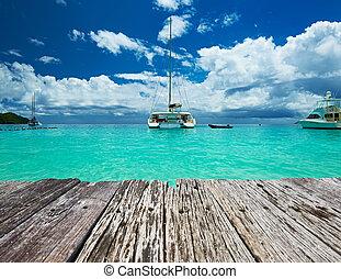 bonito, praia, com, Barcos, em, Seychelles,