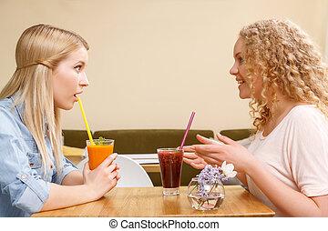 conversación,  café, niñas, dos, teniendo