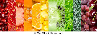 ollection with different fruits and vegetables - Healthy...