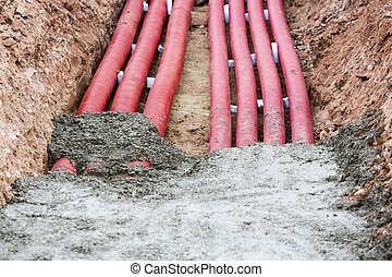 Corrugated pipes for electrical installation - Concreting...