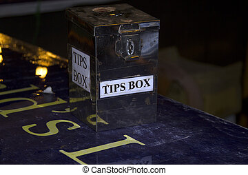 Tip Box Metal boxes for a trifle on a bar counter