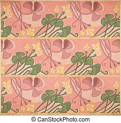 Floral art-nouveau background - Vector illustration of...