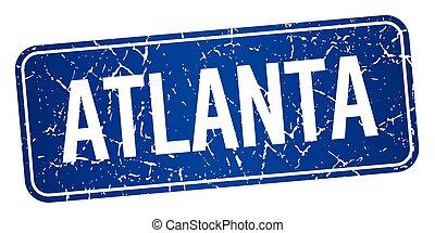 Atlanta blue stamp isolated on white background