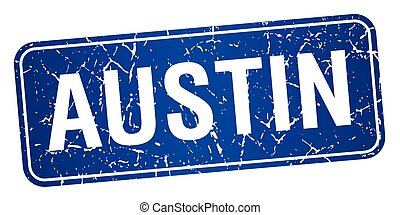 Austin blue stamp isolated on white background
