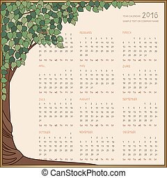 2016 year calendar full, all 12 months on one page in frame...