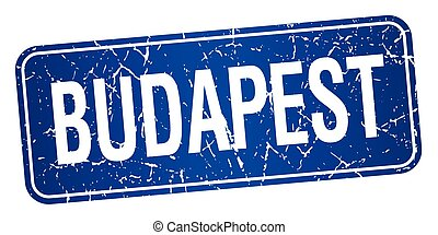 Budapest blue stamp isolated on white background