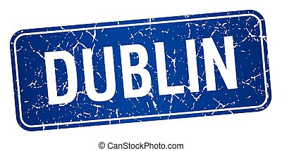Dublin blue stamp isolated on white background