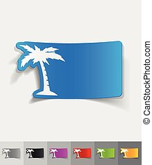 realistic design element palm - palm paper sticker with...
