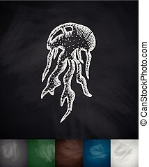 medusa icon. Hand drawn vector illustration. Chalkboard...