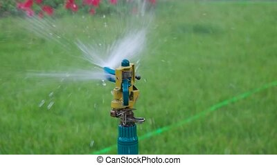 Slowmo of garden sprinkler head spreading a water over the grass