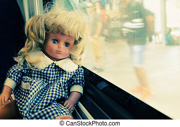 Portrait of vintage baby doll