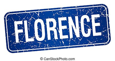 Florence blue stamp isolated on white background
