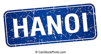 Hanoi blue stamp isolated on white background