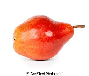 Red pear closeup on white background