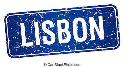 Lisbon blue stamp isolated on white background