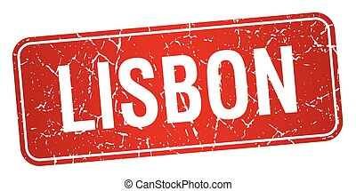 Lisbon red stamp isolated on white background