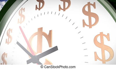 Time is money - Wall clock marking the dollar sign in...