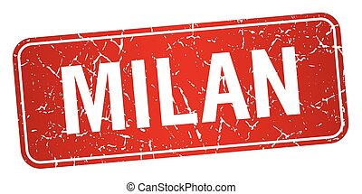Milan red stamp isolated on white background