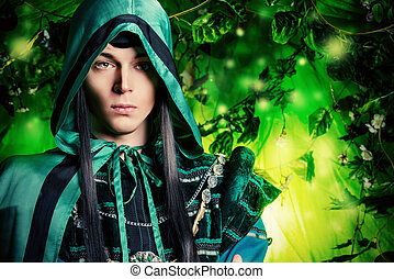 fairy tale - Noble fairy elf in the magic forest Fantasy...