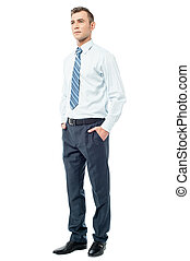 I am ready for the meeting ! - Relaxed male executive posing...