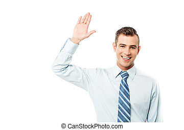 Hi mate, how are you ? - Handsome corporate man waving hand...