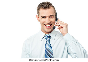 Hi, how can i help you - Young call center executive with...