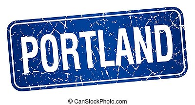 Portland blue stamp isolated on white background