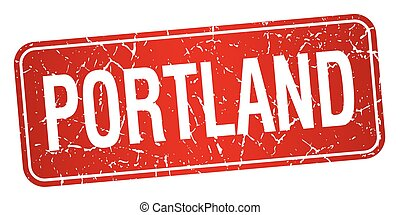 Portland red stamp isolated on white background