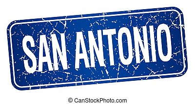 San Antonio blue stamp isolated on white background