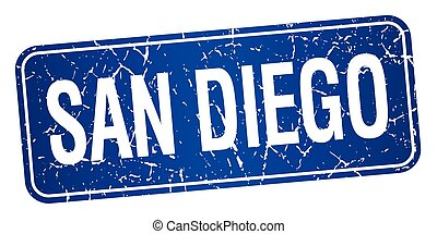 San Diego blue stamp isolated on white background