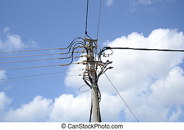 electric line; - electric line in the city