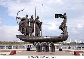 Monument to legendary founders of Kiev: Kiy, Schek, Khoryv...