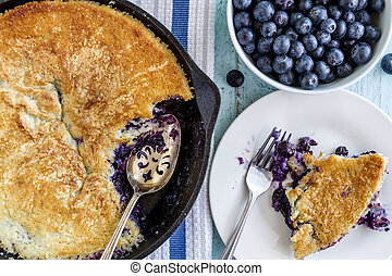 Blueberry Cobbler Baked in Cast Iron Skillet - Homemade...