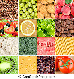 Healthy food backgrounds - Collage of healthy food...