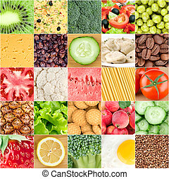Collage of healthy food backgrounds