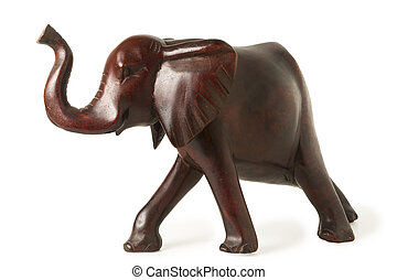 Old Ebony Elephant Figure Isolated on White