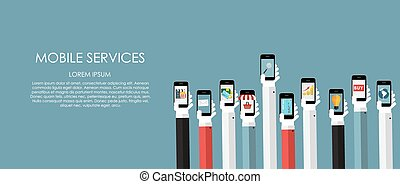 Mobile Services Vector illustration. Flat computing...