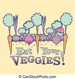 Garden Vegtables - VEctor drawing of growing vegetables...