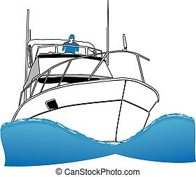 Offshore Sport Fishing Boat - Simple line drawing of ocean...