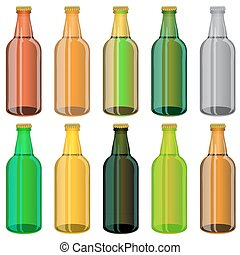 Set of Colorful Beer Glass Bottles Isolated on White...