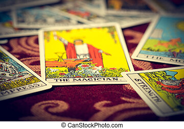 The Magician Tarot Card Macro - Extreme close-up macro shot...