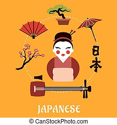 Japanese travel and cultural concept
