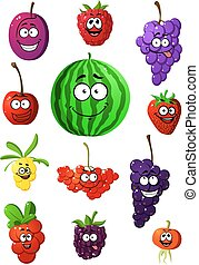Colorful fruits and berries characters