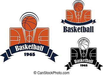 Basketball game sporting symbol or emblem with flying ball...