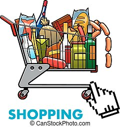 Full shopping cart with food and drinks