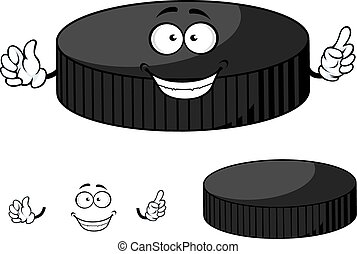 Happy cartoon hockey puck waving its hands - Happy cartoon...