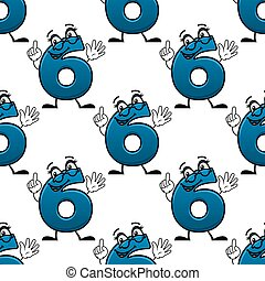 Cartoon number six seamless pattern