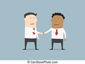 Businessmen of different ethnicities shaking hands