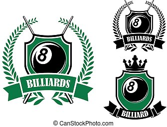 Eight ball billiards or pool emblem with crossed cues, black...